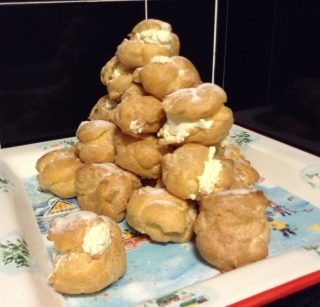 Profiterole mound for Christmas